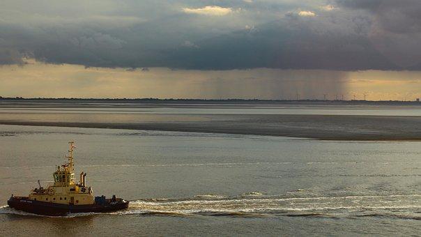 North Sea Coast, Bremerhaven, Rain Clouds, Tug, Weser