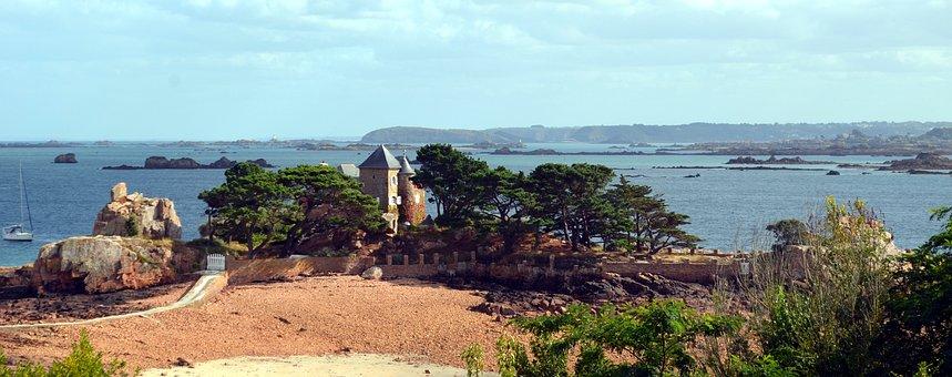 Panorama, Bréhat, Rocks, Island, Ile-de-brehat