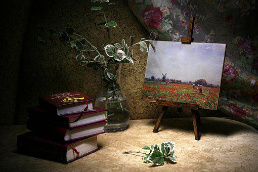 Still Life Art And Literature, Picture, Books, Vase