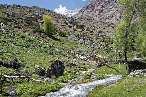 Tajikistan, Bergdorf, Village, šingtal, River, Water