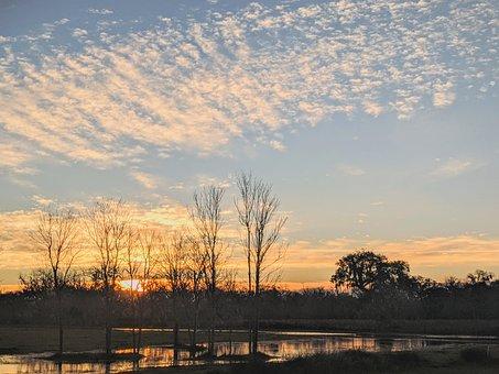 Sunrise, Water, River, Sun Rising