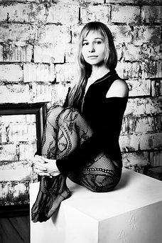 Sitting, Girl, Legs, Studio, Monochrome, Retro, Vintage
