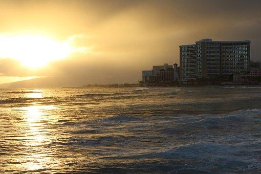 Sky, Sun, Waikiki, Hawaii, Ocean, Sea, Wave, Yellow