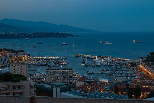 Monaco, Night, Port, Illuminated, Tourism, Vacations