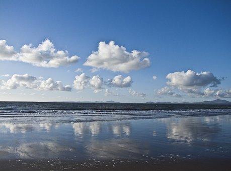 Harlech, Beach, Irish Sea, Wet, Sand, Water, Coast