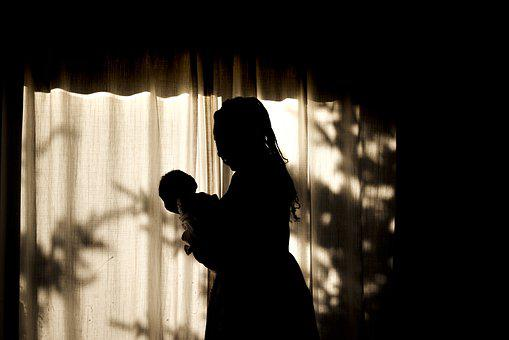 Black, Mother, Baby, African, Silhouette, Sunset