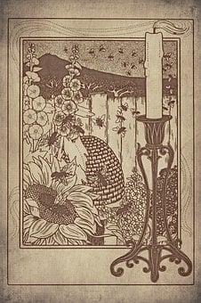 Bees, Beehive, Sunflower, Flowers, Candle