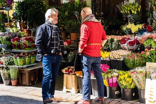 Rue Cler, Flowers, Street Scene, Street, City, People