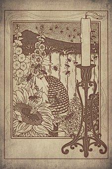 Bees, Beehive, Sunflower, Flowers