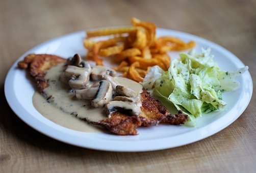 Schnitzel, Golden Brown, Hunter Sauce, Salad, French