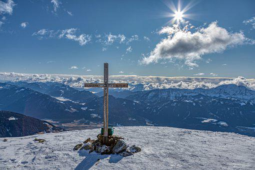 Summit, Nassfeld Bar, Sun, Mountains, Snow, Landscape