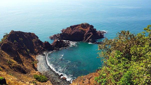 Nature, Coast, Bay, Ocean, Sea, Rocks, India, Goa
