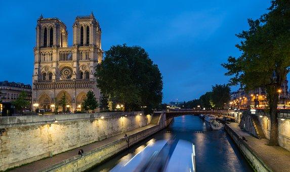 Notredame, Night, Seine River, Seine, Paris, France