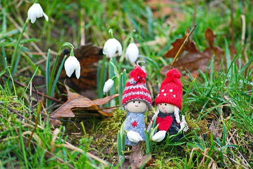 Beautiful Day, Snowdrops, Grass, Spring