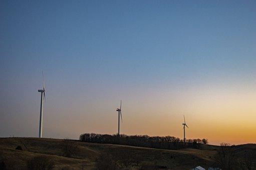 Windmills, Wind Energy, Wind Turbines, Sunset, Horizon