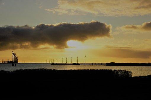 Wind Power, Sky, Water, Sunset, Clouds, Wind Turbine