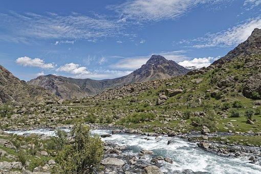 Tajikistan, šingtal, River, Water, Valley, Landscape