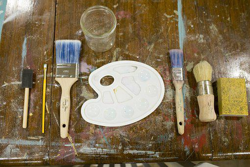 Art, Flat Lay, Brush, Easel, Paint, Tray, Design