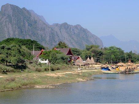 Laos, Van-vieng, Village, Mékong, Banks, Fishery, River