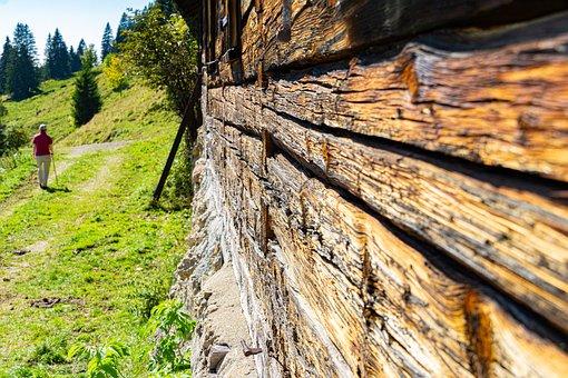Mountain Hut, Alpe, Alpine, Wood, Rauh, Weathered