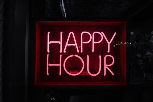 Happy Hour, Happy Hour Sign, Neon Sign, Bar, Bar Window