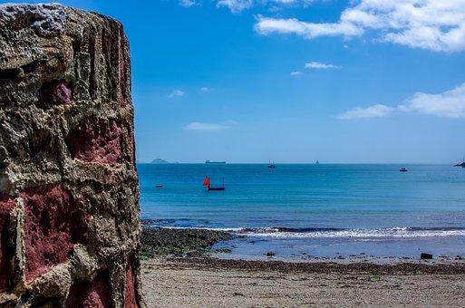 Coast, Beach, Quay Wall, Sky, Sailing Boat, Sea, Pebble