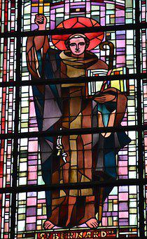 Stained Glass, Window, Church, Saint, Man, Bernard