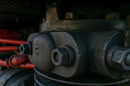 Steam Locomotive, Close Up, Insert, Detail, Steel