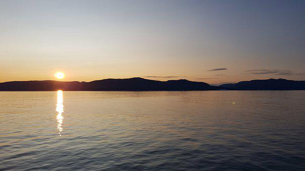 Midnight Sun, Fjord, Greenland, Disko Island