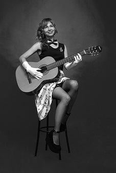 Guitar, Pin-up Girl, Music, Girl, Singer, Musician