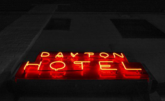 Neon Sign, Neon, Contrast, Hotel, Hotel Sign