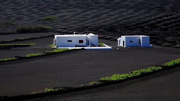 Sand, Black, House, White, Lanzarote, Landscape, Nature