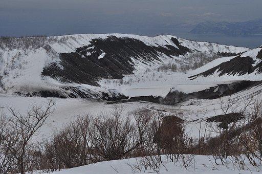 Hokkaido, Toya, Mountain, Japan, Mist, Snow, Vocalno