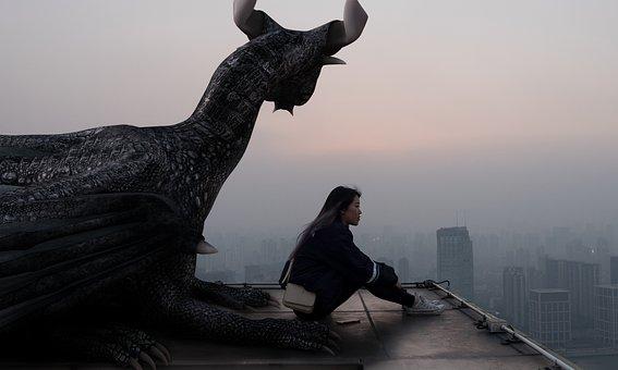 Dragon, Girl, City, Fantasy, Magic, Composing, Woman