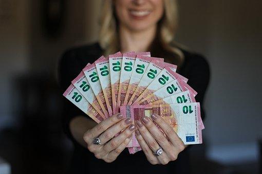 Woman, Happy, Money, Euro, Bills, Hand, Stack, Earn