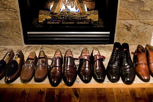 Men's Shoes, Monk Strap, Shoe Shine, Fireplace