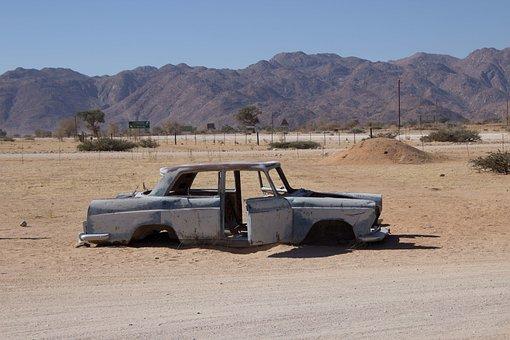 Namibia, Africa, Desert, Sand, Drought, Auto, Car Wreck
