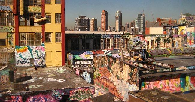 New York, Grafitti, Building, Skyscrapers, Facade
