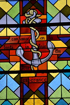 Stained Glass, Window, Church, Colorful, Anchor, Node