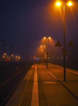 Platform, Fog, Railway Station, Lonely