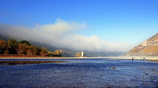 Mäuseturm, Ehrenfels, Ruin, Rhine, Fog, Low Tide