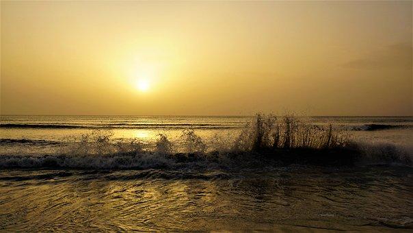 Dusk, Sunset, Mallorca, Island, Spain, Sea, Beach, Wave