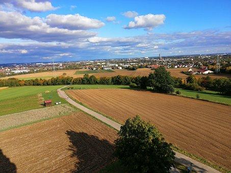 Fields, Sky, Clouds, Landscape, Farmland