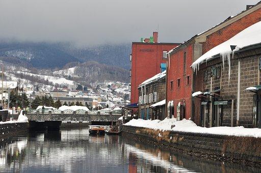 Otaru, Canel, Japan, Cold, Hokkaido, Snow, Japanese