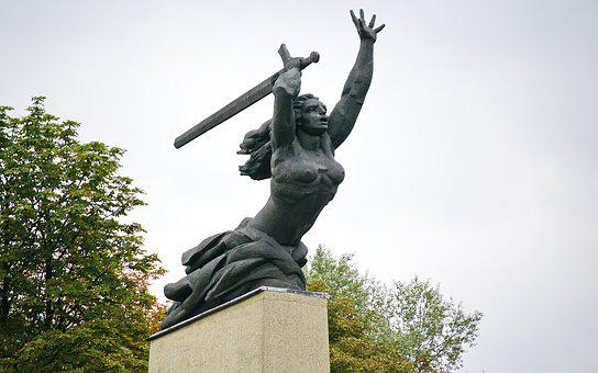 Statue, Monument, Historic, Woman, The Fighter, Sword