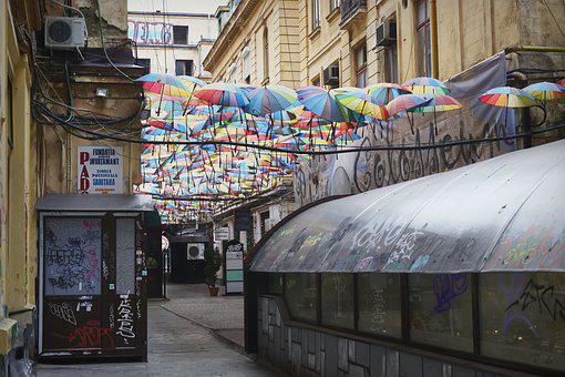 Decor, Umbrellas, Colored, Hanging, Terrace, Buildings