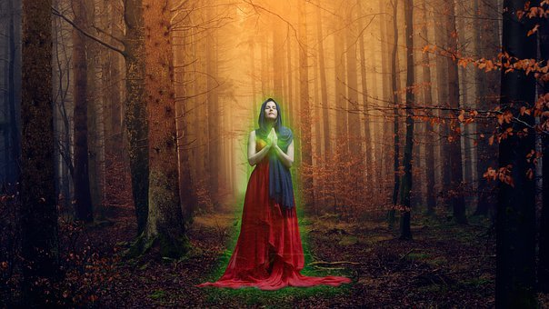 Witch, Magic, Forest, Wizard, Sorceress, Trees, Light