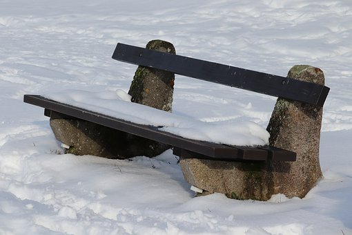 Tranquility Base, Snow, Wooden Bench