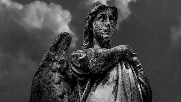 Angel, Statue, Figure, Sculpture, Cemetery, Faith