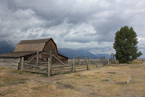 Wild West, Grand Teton, Farm, Wyoming, Barn, Landscape